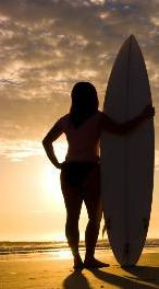 women with surf board